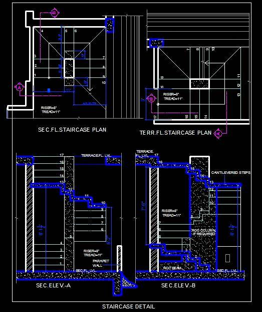 Simple Staircase Design - Autocad DWG | Plan n Design