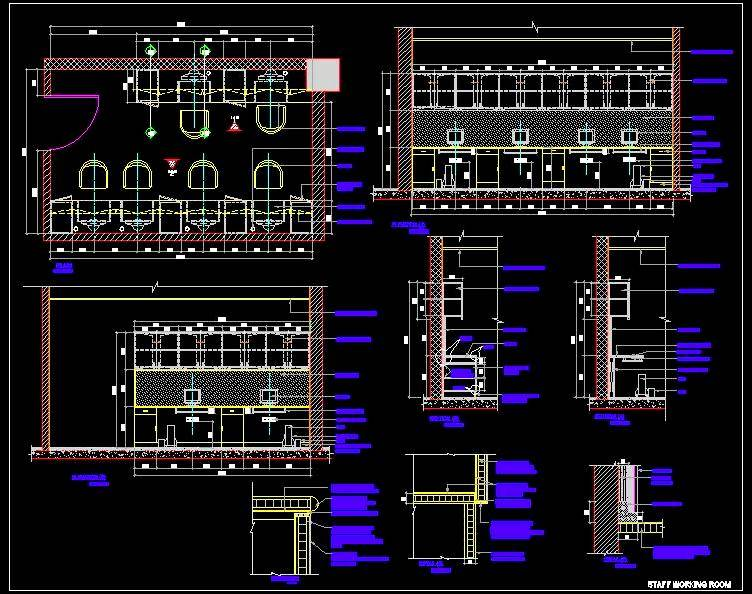 Small Office Working Area Design cad dwg detail