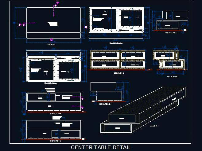 Wooden Modern Design Center Table Autocad Dwg Plan N