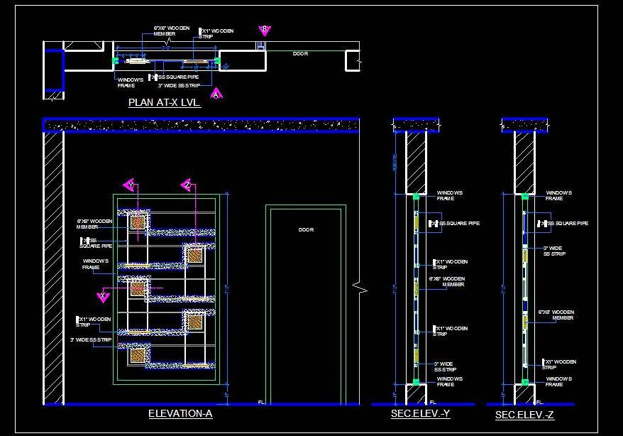 Window Grill Design Wood And S S Autocad Dwg Plan N Design