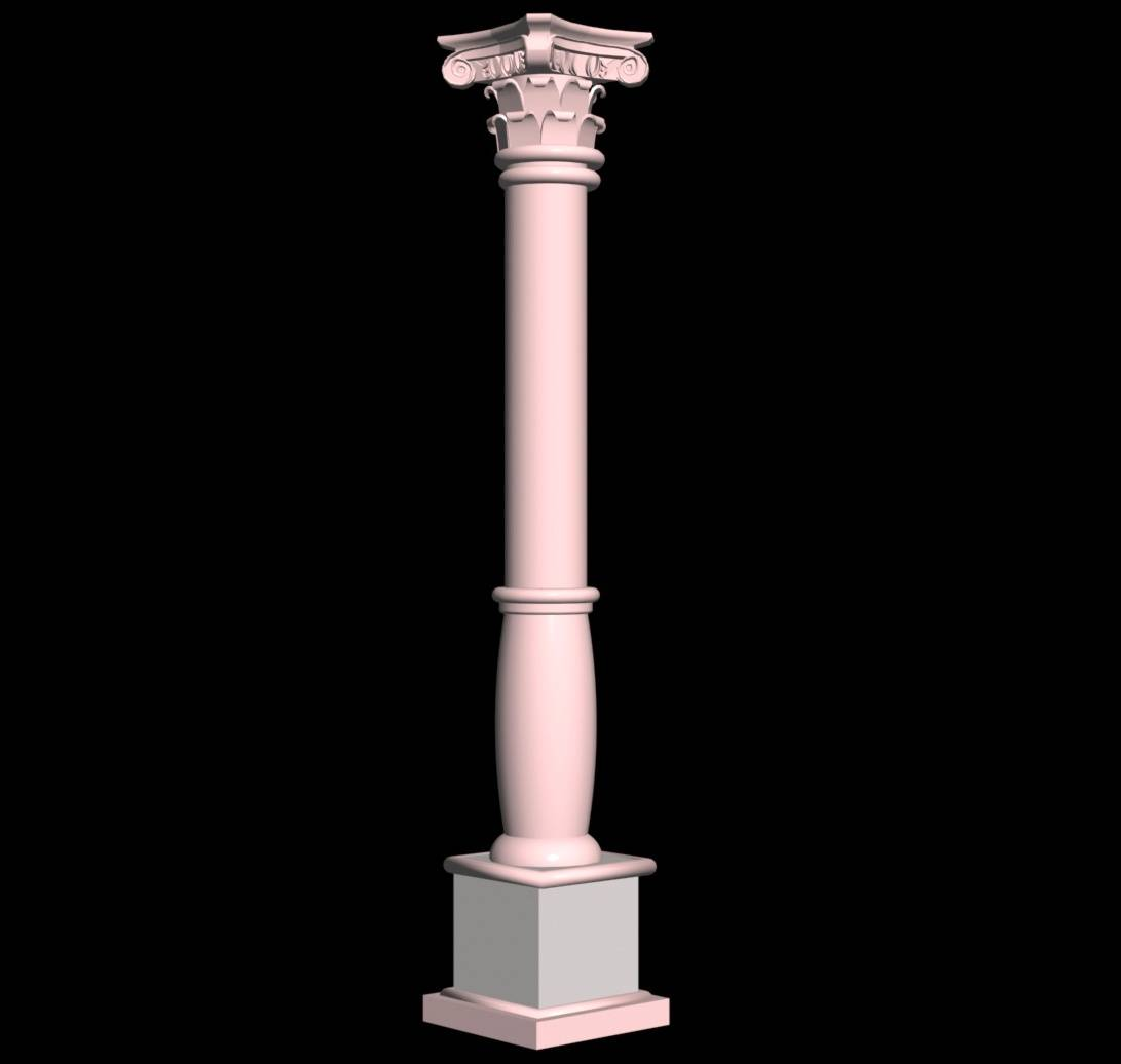 Carved Pillar Design 3d view