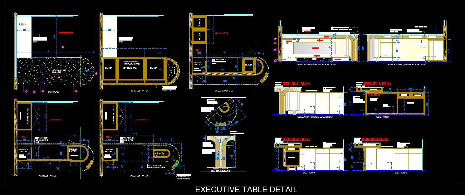 Office L-Shape Executive Desk DWG Cad Design
