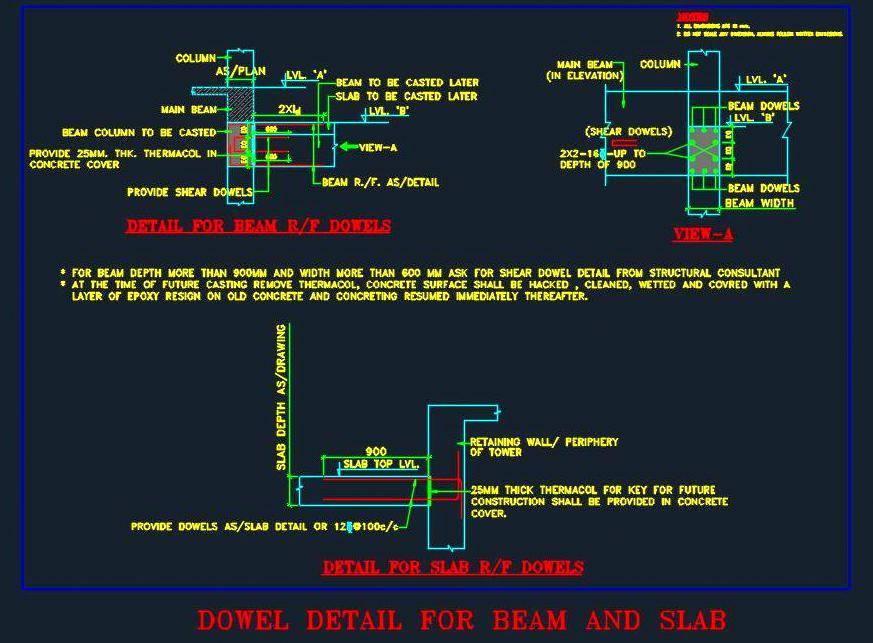 Dowel detail for Beam and Slab - Autocad DWG | Plan n Design