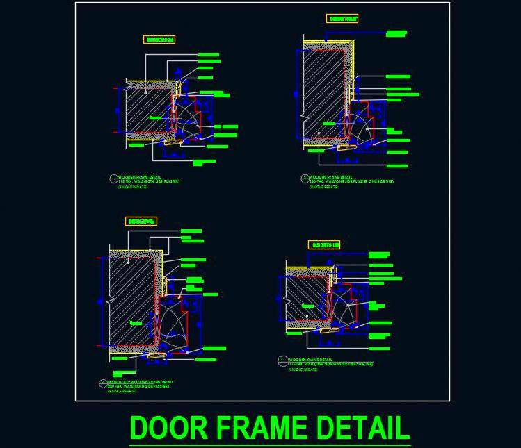 Various Door Wooden Frame Jamb Sectional Detail