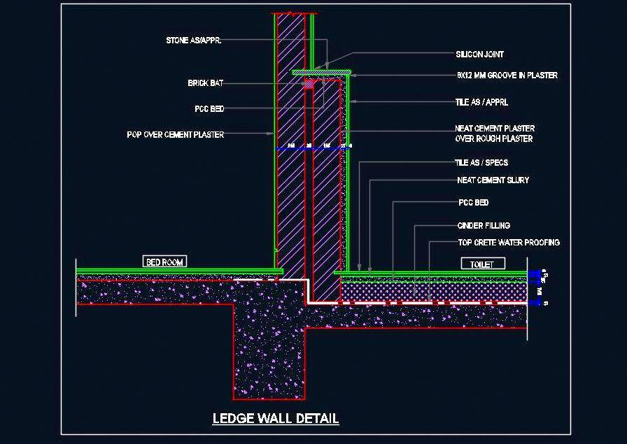 Toilet Ledge Wall And Floor Sectional Detail - Autocad DWG