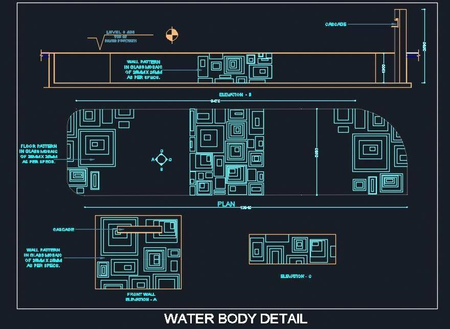 Outdoor Water Body Fountain Cad Design Detail