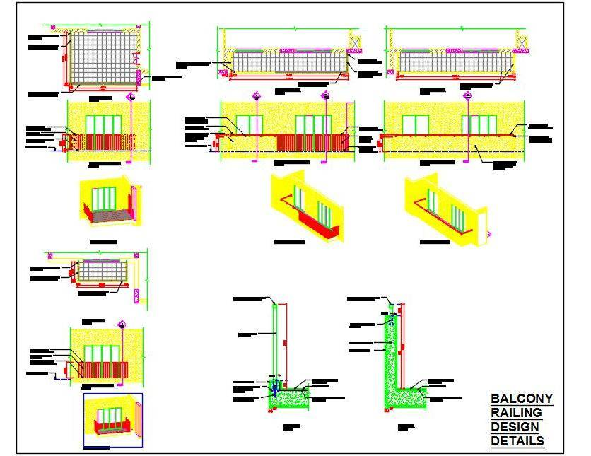 Balcony Railing Drawing DWG