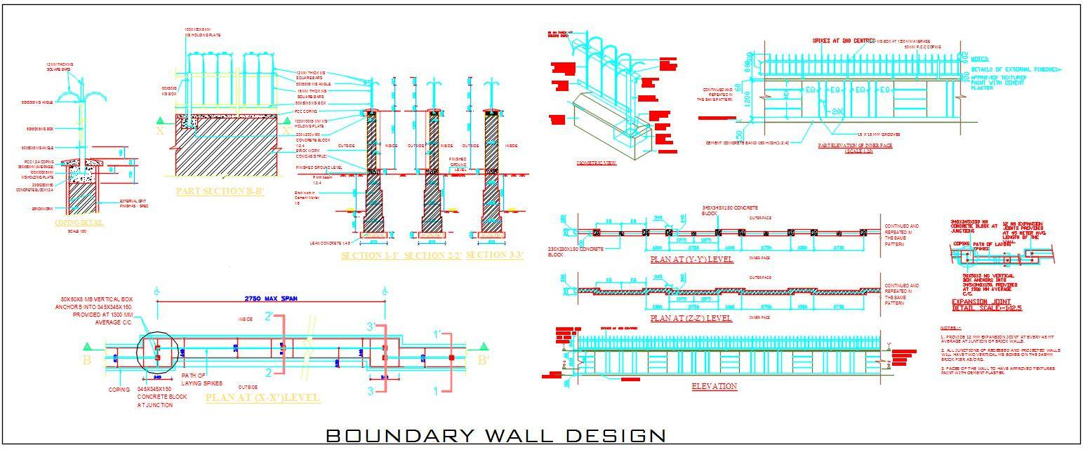 Commercial Township Building Boundary Wall Design Detail
