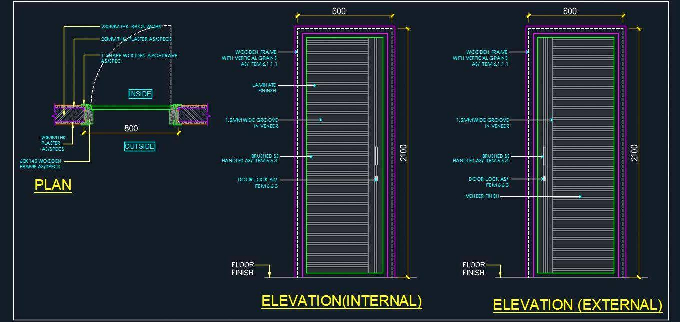 Flush Door Cad Detail - Autocad DWG | Plan n Design