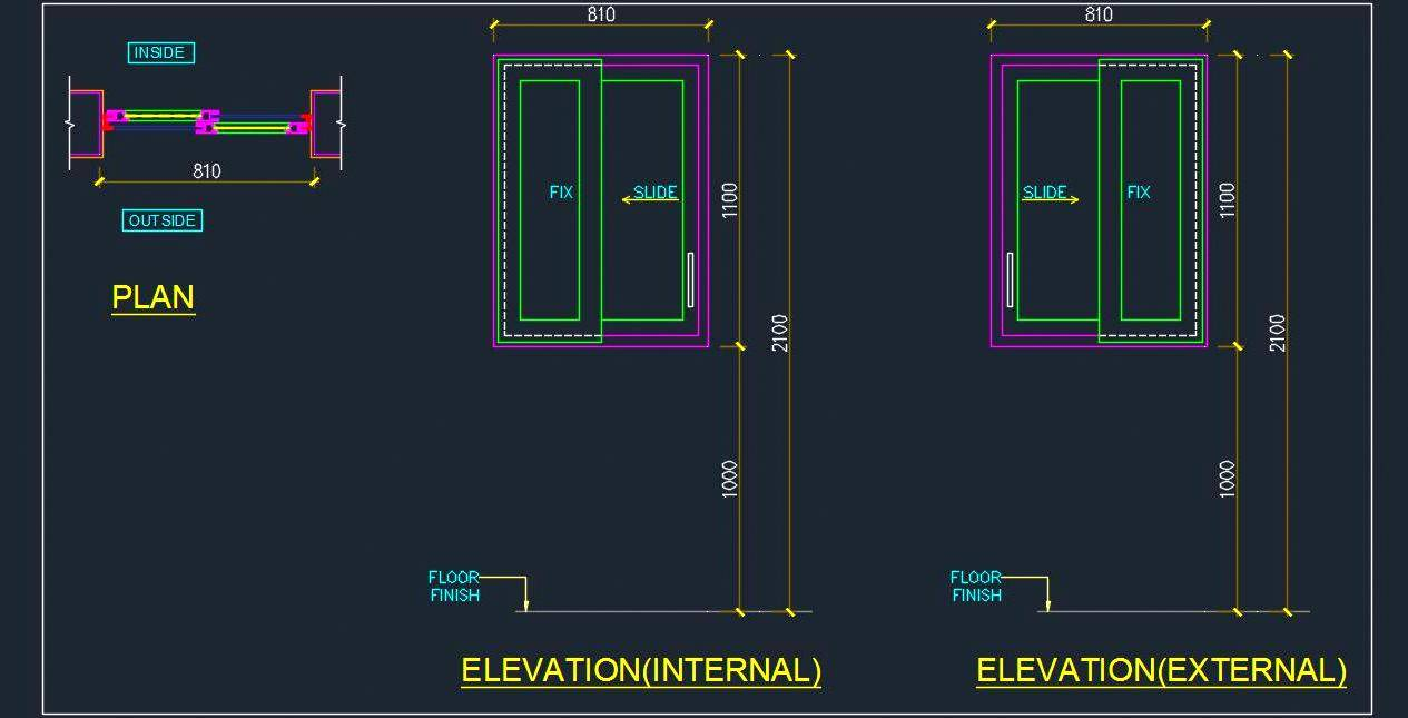UPVC Sliding Window Cad Detail