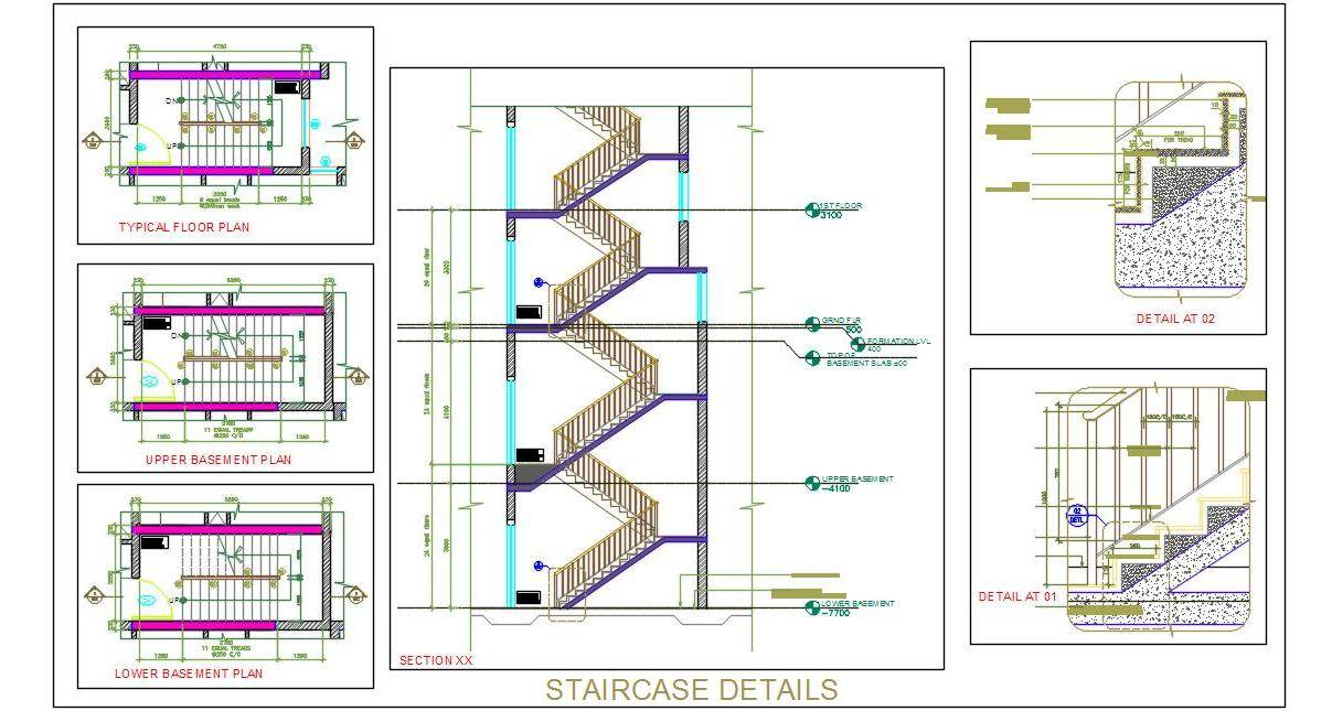Staircase Design Working Drawing - Autocad DWG | Plan n Design