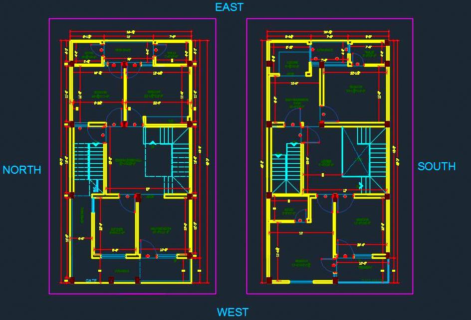 House Space Planning 25'x50' DWG File