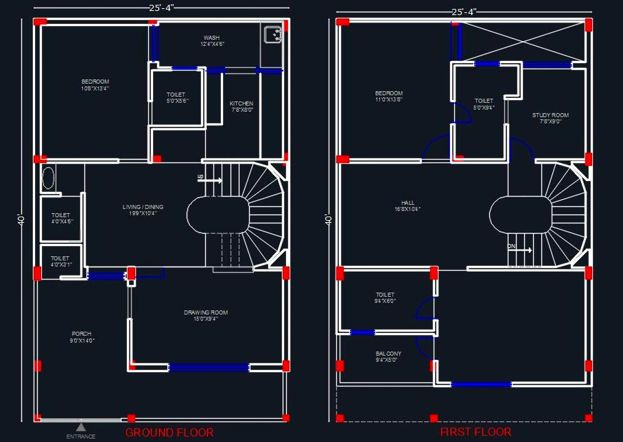 House Space Planning 25'x40'
