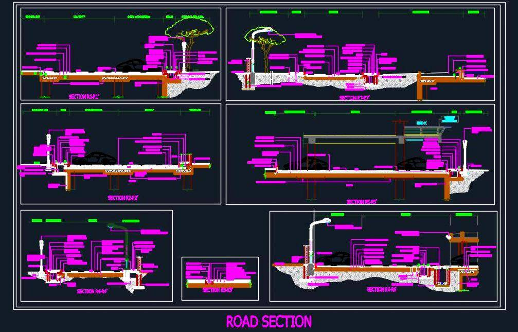 Different Road Section Detail - Autocad DWG | Plan n Design