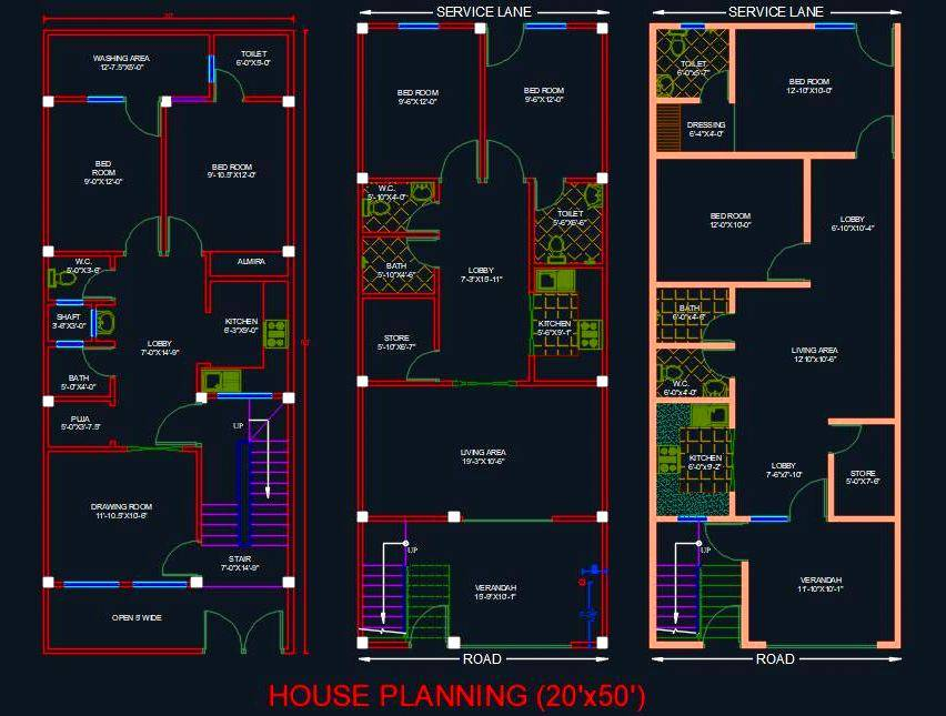 House Architectural Planning Floor Layout Plan 20 X50 Dwg File Autocad Dwg Plan N Design