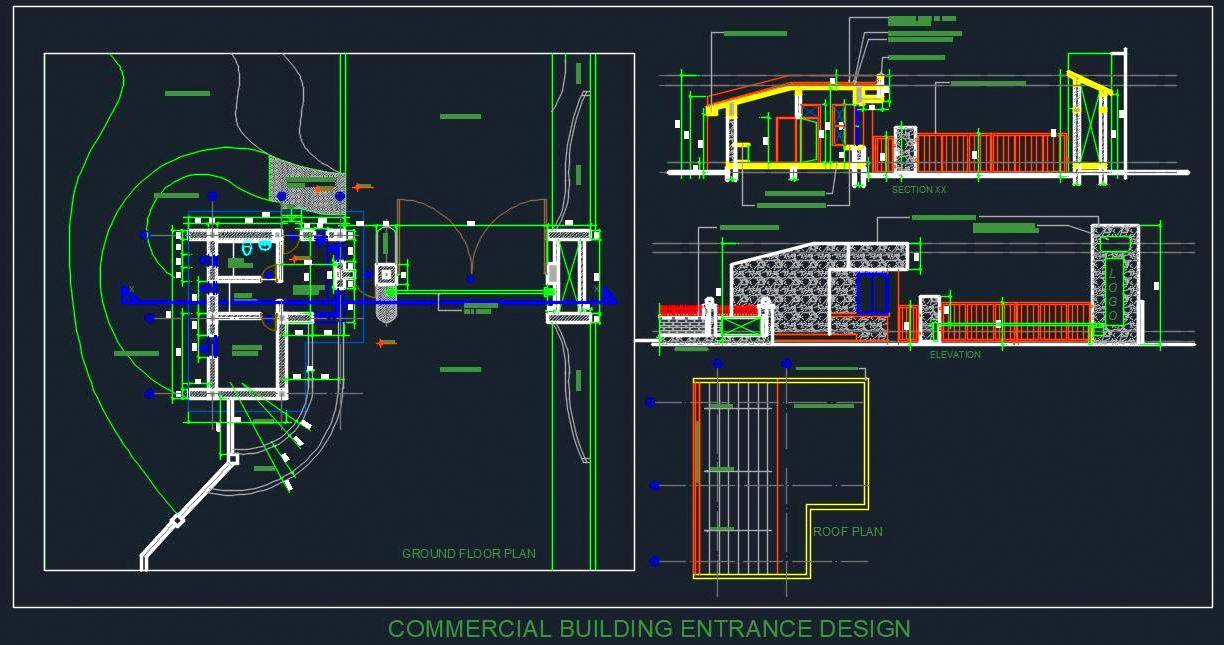 Commercial Building Entrance Design With Entry Exit Gate Dwg File Autocad Dwg Plan N Design