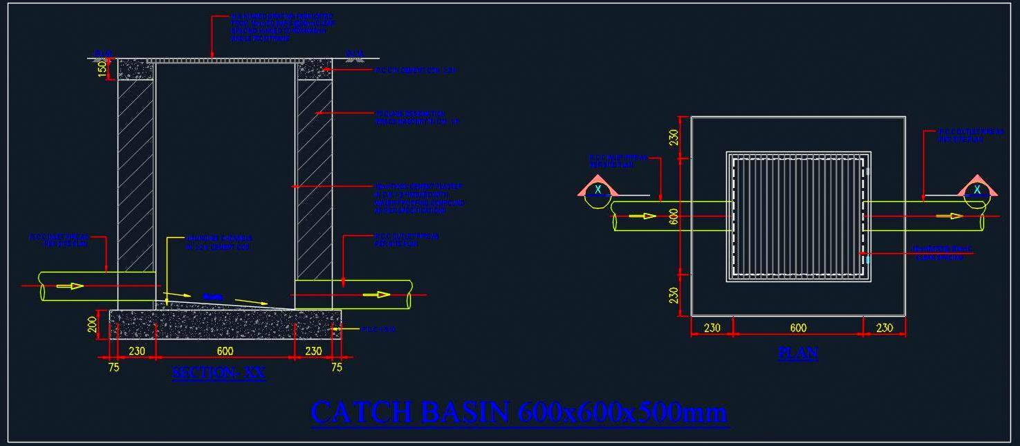 Catch Basin Detail 600x600x500 mm - Autocad DWG | Plan n Design