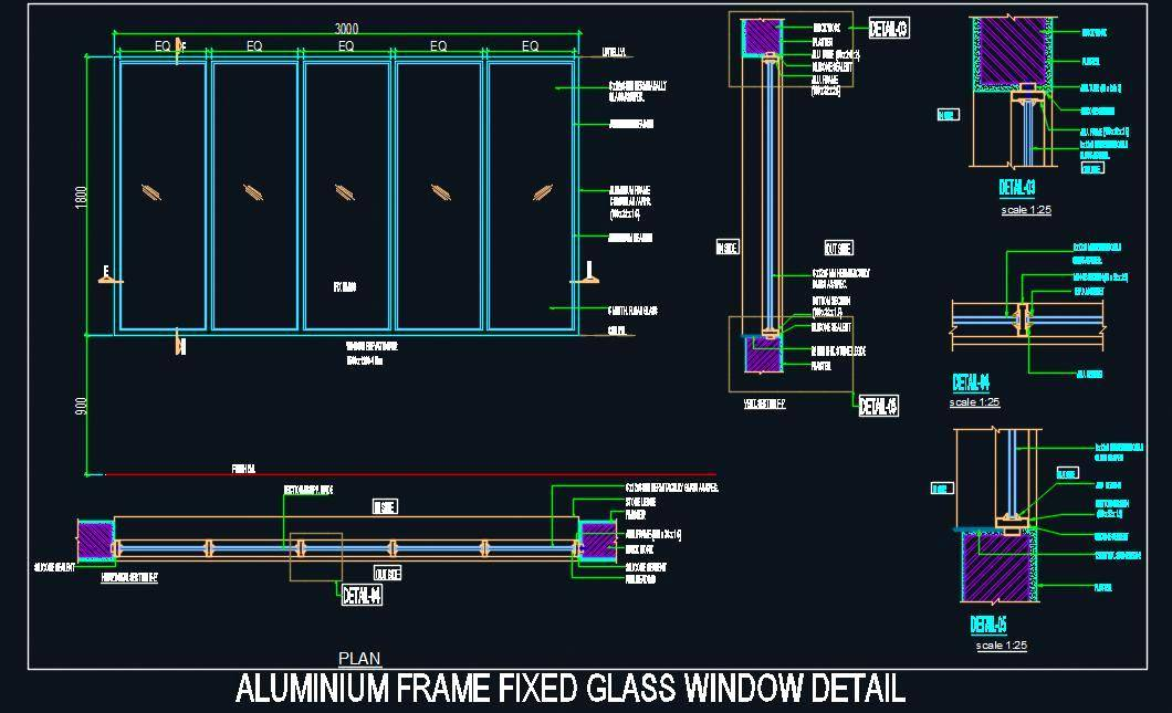 Aluminium Frame Fixed Glass Window Design