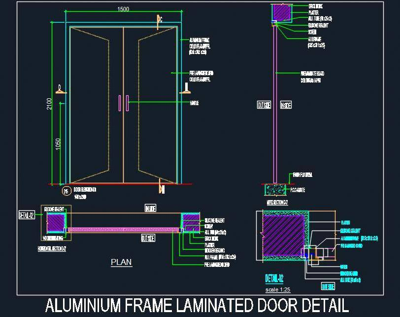 Aluminium Frame Laminated Door detail