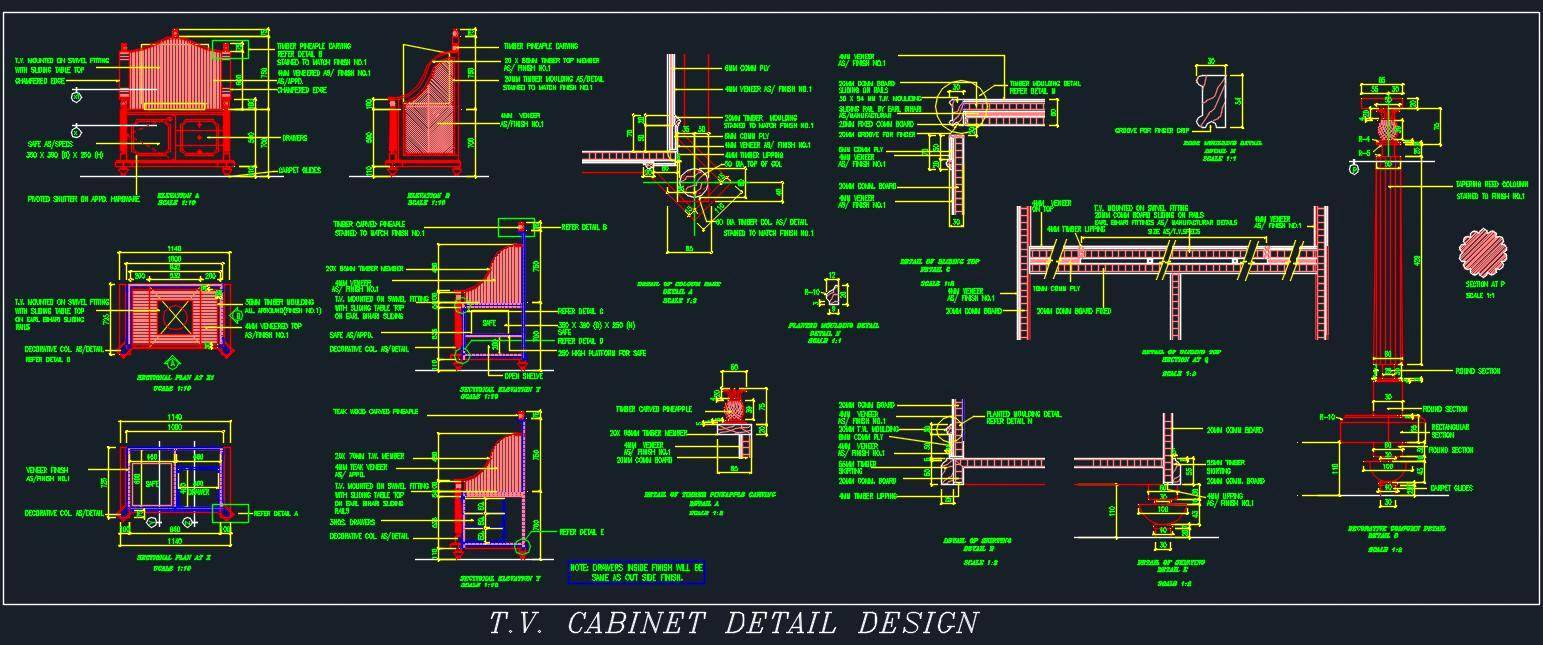 Free Standing Traditional Design TV Unit
