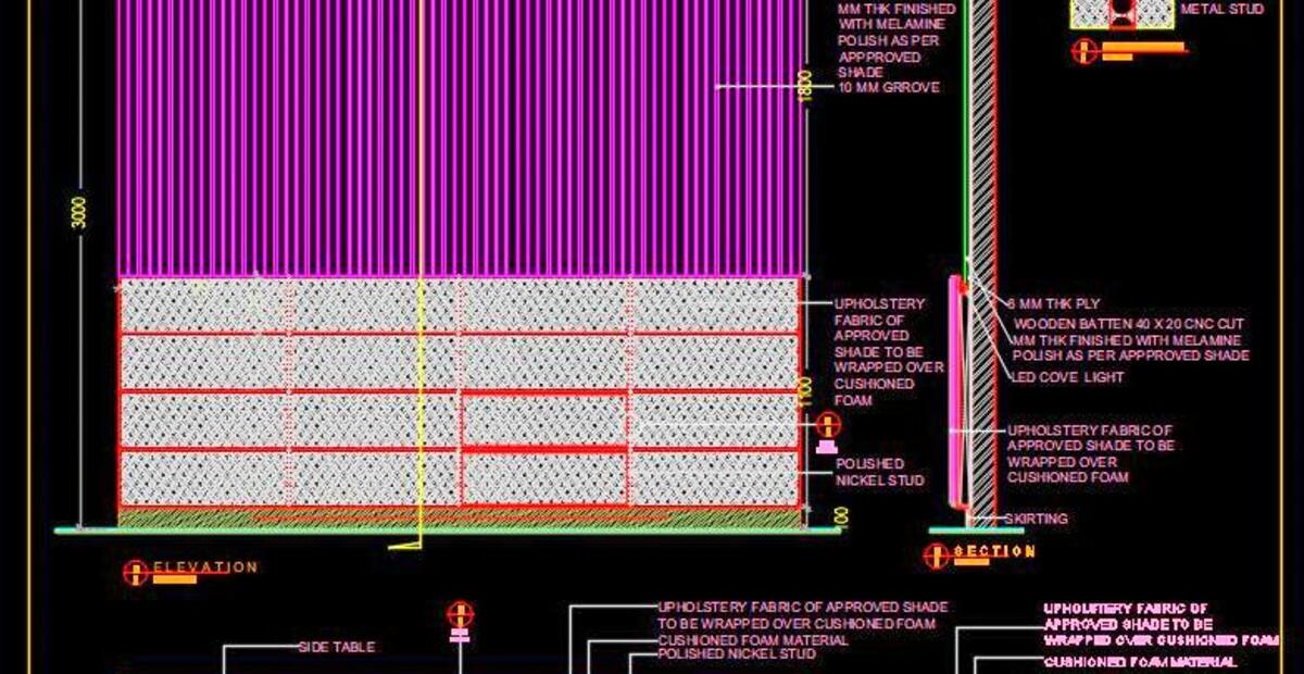 Bed Headboard With Wall Paneling Design Dwg Cad Detail Autocad Dwg Plan N Design