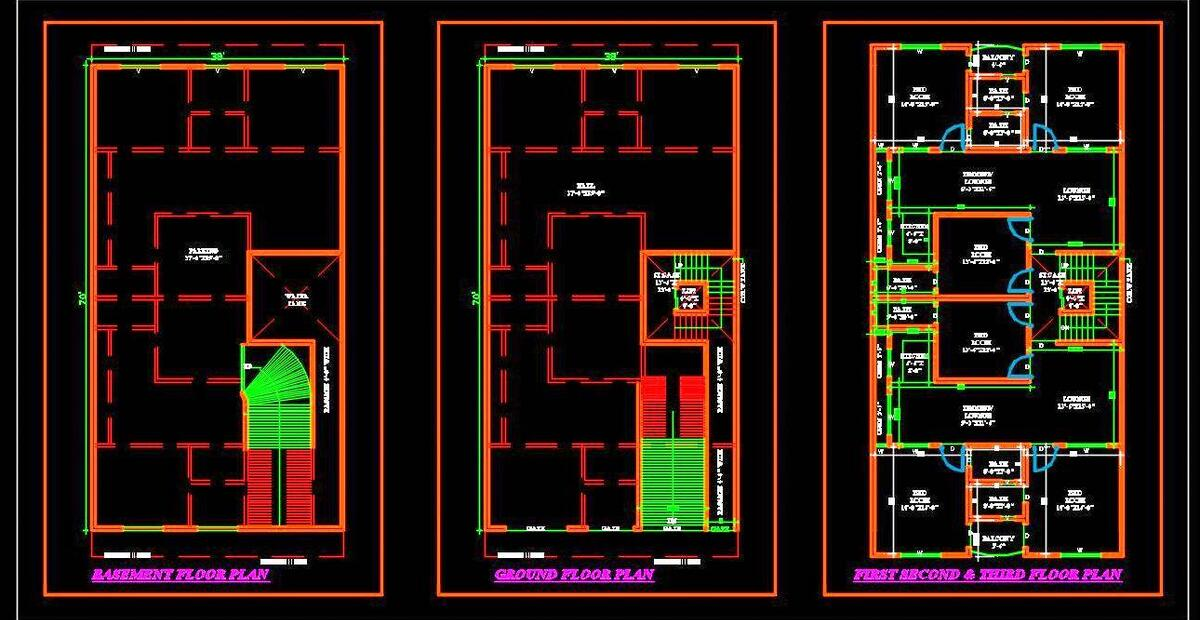 Commercial Cum Multi Family Residential Building 40 X70 Autocad Architecture Dwg File Download Autocad Dwg Plan N Design
