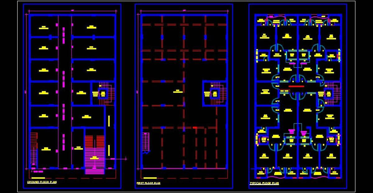 Commercial Cum Multi Family Residential Building 45 X80 Autocad Architecture Dwg File Download Autocad Dwg Plan N Design