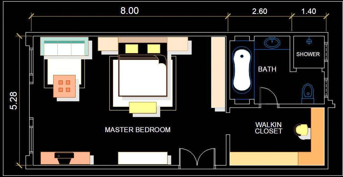 Luxurious Master Bedroom Interior Layout Presentation Plan Dwg File Autocad Dwg Plan N Design