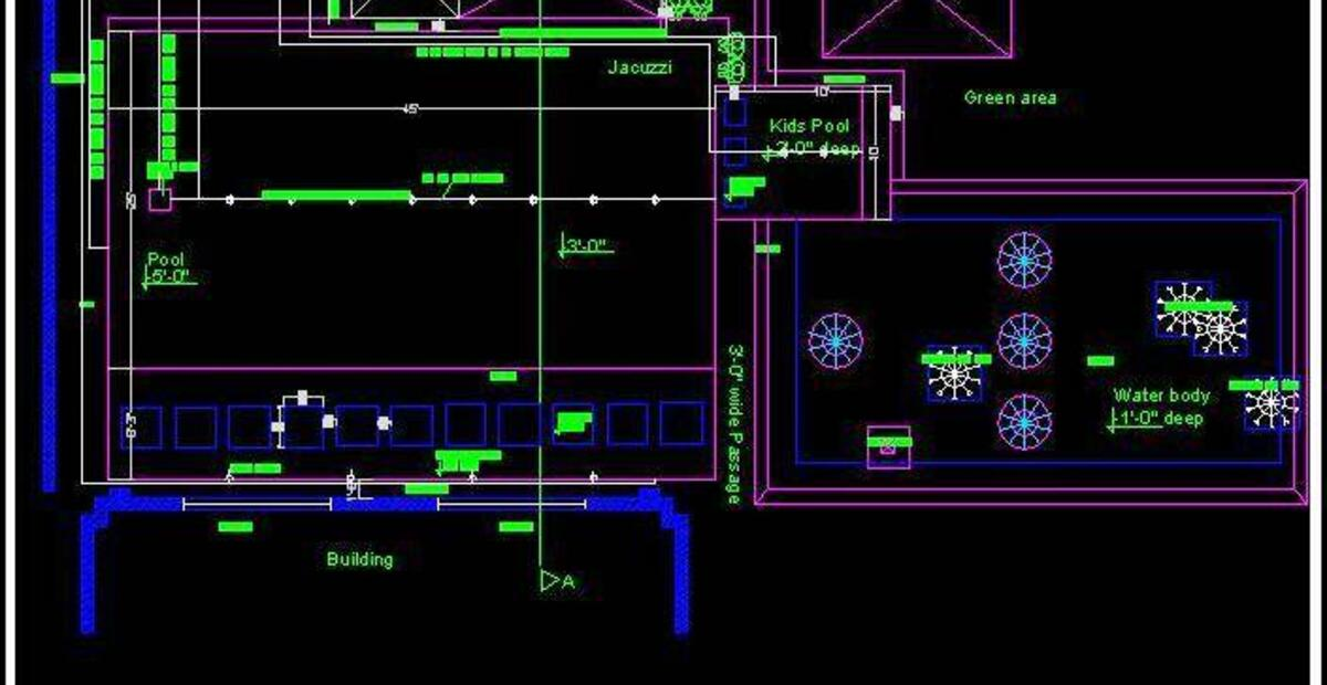 Swimming Pool Layout Plan And Section Autocad Dwg Plan N Design