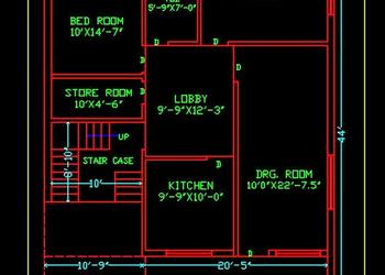 House Space Planning 30'x45' Ground Floor Cad Plan