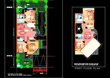 Duplex Bungalow Layouts (40'x80') DWG Autocad Design