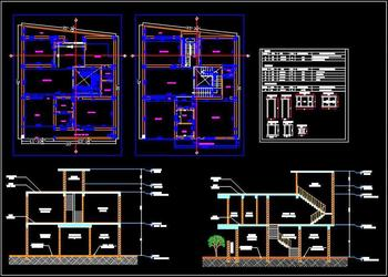 Duplex House Space Planning 35'x40' Floor Plan DWG Free Download