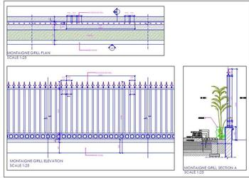 Boundary Wall Grill Design with Planter Cad Detail
