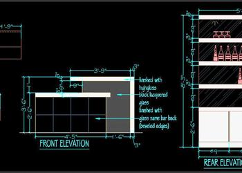 Home Bar Unit Plan and Elevation dwg