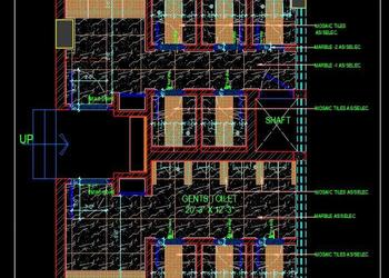 Male and Female Toilet Block Layout Plan dwg File