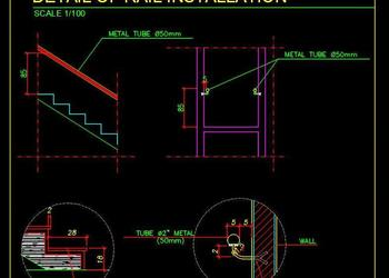 MS Tube Handrail Detail Cad File