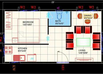 Studio Apartment Interior Floor Layout Cad Plan