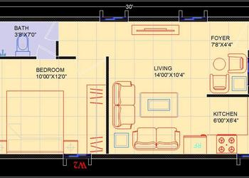 Studio Apartment Interior Floor Layout dwg plan