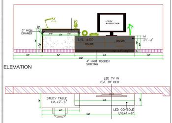 TV Unit Plan and Elevation Design