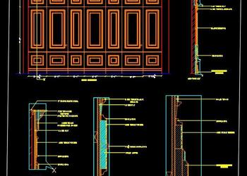 Wooden Wall Panelling Detail Drawing DWG