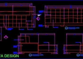 Corner L Shape Sofa Working DWG Drawing