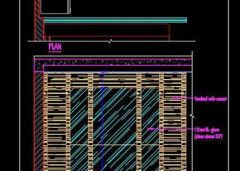 Glass and Wooden Partition- Screen- Room Divider (Plan and Elevation) dwg
