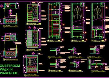 Luxurious Walk-in Closet Cad Working Drawing Detail