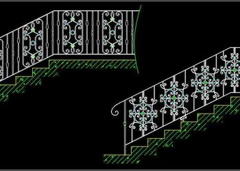 Ornamental Metal Railing Design Cad Block