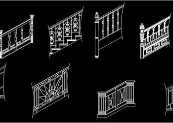 Staircase Railing Design Cad Blocks DWG Drawing