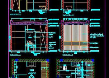 Toilet Cad Detail Drawing (11'x7') with Full Wall Wardrobe Design