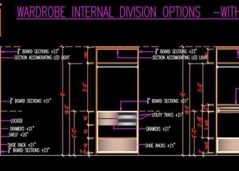 Wardrobe Internal Partition Design DWG Detail- Plan and Elevation