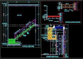 Wooden Floating Staircase Design Detail  With Glass Railing DWG Drawing
