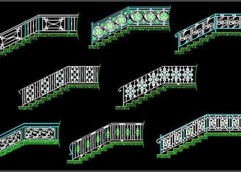 Wrought Iron and Metal Railing Cad Block DWG File