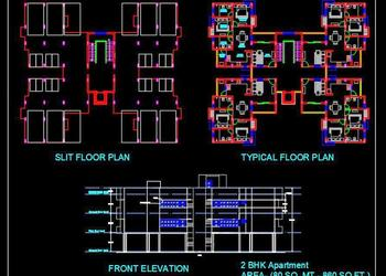 2 Bedroom Apartment Building- Autocad Architecture dwg file download